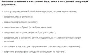 Список документов для замены паспорта дзержинск