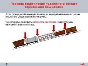 Правила закрепления вагонов тормозными башмаками