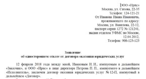 Письмо в энергосбыт с просьбой о расторжении контракта