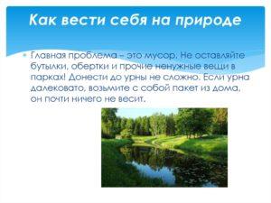 Сочинение на тему как вести себя на природе