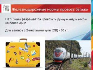 Сколько вещей можно везти в поезде