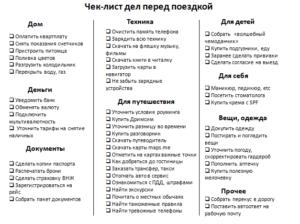 Список дел сделать перед отпуском