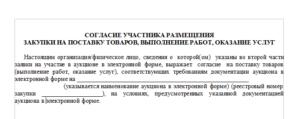 Согласие участника закупки образец ртс тендер