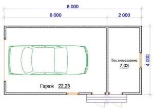 Размер гаража на 1 машину по снип