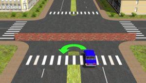 Как выполнять разворот на перекрестке с разделительной полосой