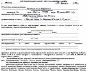 Как заполнить согласие на обработку персональных данных для визы