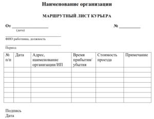 Порядок составление маршрутного листа для водителя