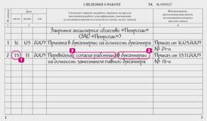 Кадровый перевод запись в трудовую книжку