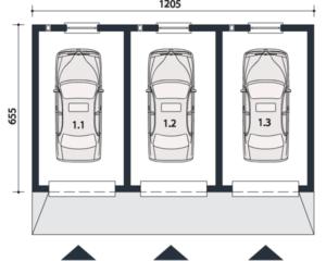 Гараж на 3 машины размеры