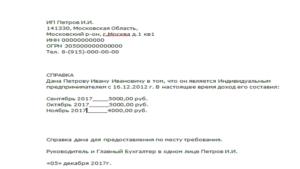 Справка о доходах ип на енвд образец