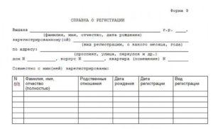 Справка о зарегистрированных лицах в квартире мфц