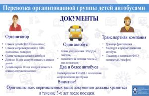 Какие нужны документы для перевозки 7 детей в автобусе