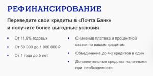 Рефинансирование в почта банке отзывы